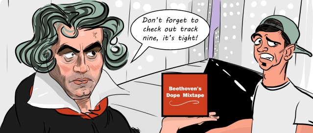 Beethoven in modern 21st century trying to get ahead of the game as he gives out free mixtape CD's