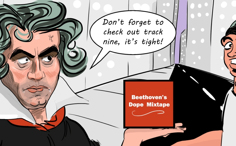 Beethoven in modern 21st century trying to get ahead of the game as he gives out free mixtapeCD's